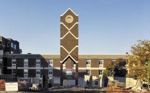 1994 Clock Tower is constructed on the Sassafras St. side of Reed Manor